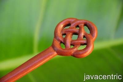 Handmade CELTIC wooden HAIR STICK PICK or SHAWL SCARF PIN Sono wood carved new