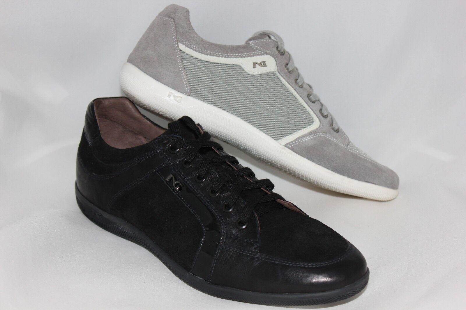Scarpe casual da uomo  Scarpa sneakers nero grigio pelle laccio 402610 201490 NERO GIARDINI 40 43 saldi