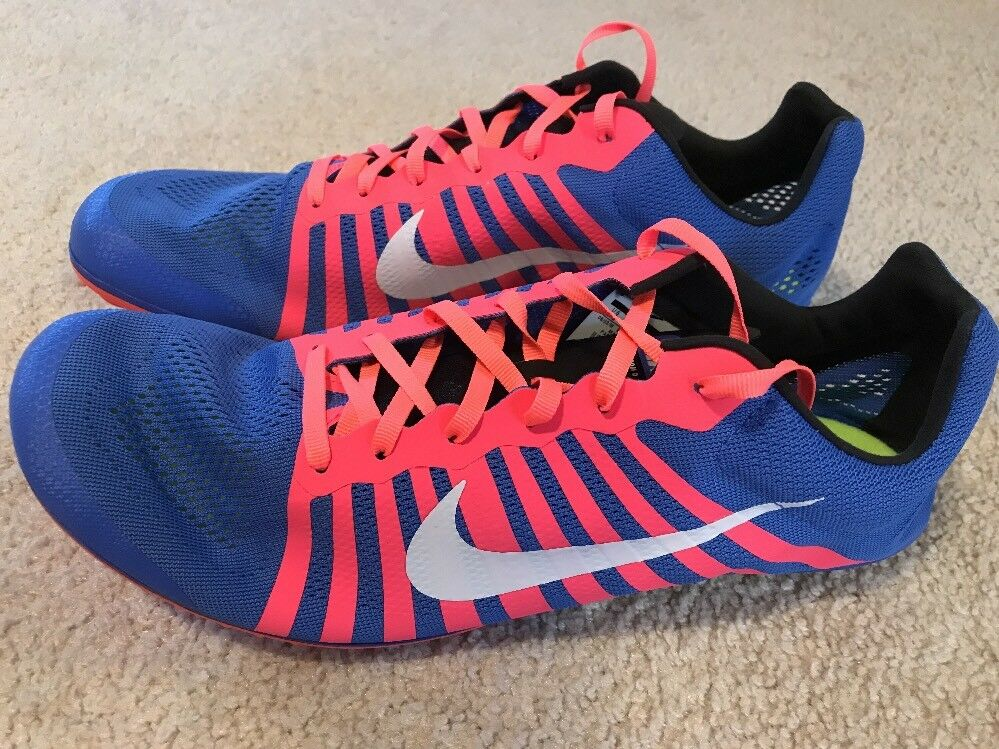 NWOB Nike Zoom D Distance Track Spikes Men's 12 bluee Pink