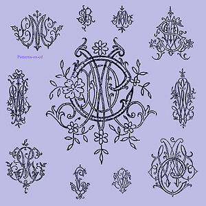 Vintage Hand Embroidery Monogram Design Patterns For Handkerchief