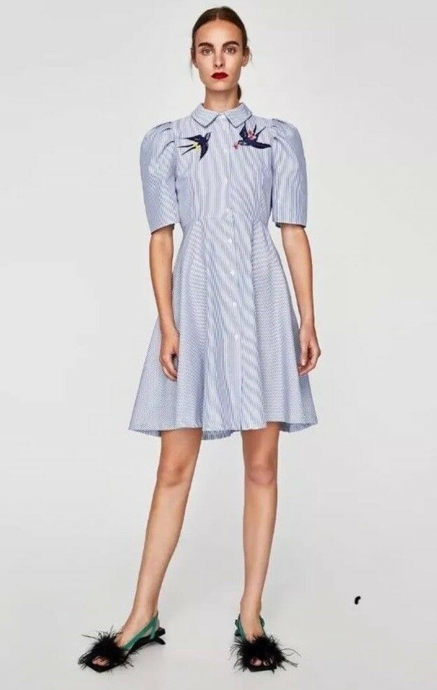 Zara Stripped And Embroidered Swallows  Dress