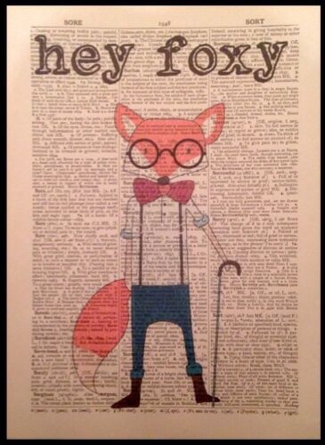 """Hipster Fox Vintage dictionnaire page imprimer Mur Art Image /""""hey Foxy/"""" animal"""