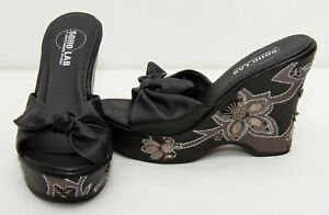 Details about Skechers Soho Lab high wedge heel black embroidery beads sequins shoes bow front
