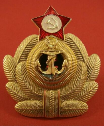 "USSR Soviet Navy Fleet NAVAL OFFICER HAT cap BADGE ""Crab"" Original Cold War era"