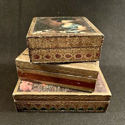 Red Color  #1855 trinket box shabby chic Large selection of boxes in our shop Florentine Italy Antique wooden jewelry box Jewelry Box