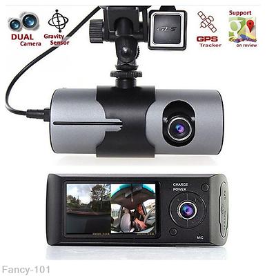 1080P HD 2.7/'/' Dual Lens Dash Cam Car Video Recorder DVR Camera GPS Logger R310