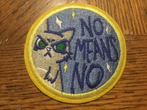 """No Means No PATCH 2.75"""" Embroidered Iron-On Cat"""