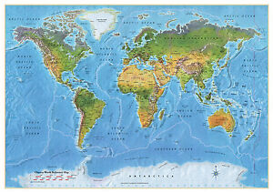 World map poster map of the world chart atlas educational map large image is loading world map poster map of the world chart gumiabroncs Images