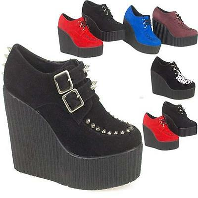 LADIES WEDGE CREEPERS WOMENS LACE UP FASHION HIGH HEELS GOTH PUNK PLATFORM BOOTS