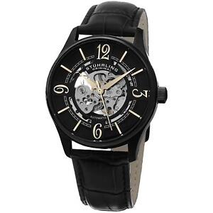 Stuhrling-Men-039-s-Automatic-Black-Calfskin-Stainless-Steel-Case-Watch-992-02