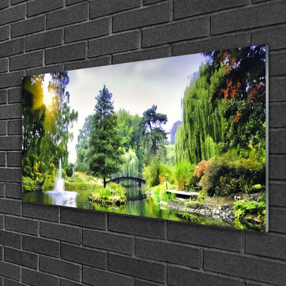 Image sur verre Tableau Impression 100x50 Nature Forêt Chute D'eau Soleil