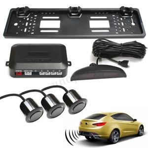 Car-European-Rear-Number-Plate-Frame-With-3-Reversing-Parking-Sensor-System-Kit