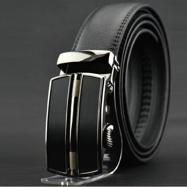 Men's Luxury Automatic Buckle Waistband Business Casual Leather Belts Black Y