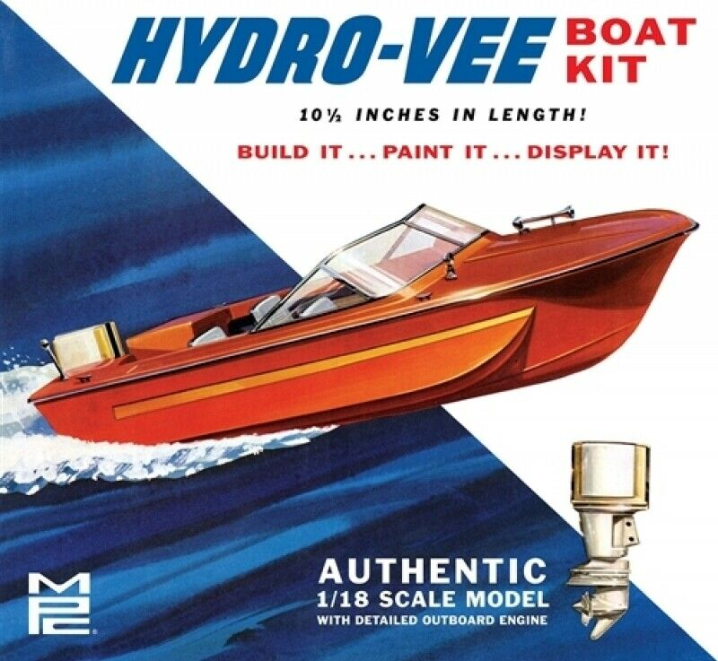 Vintage Hydro-Vee Power Boat 1 18 Scale MPC Highly Detailed Plastic Boat Kit