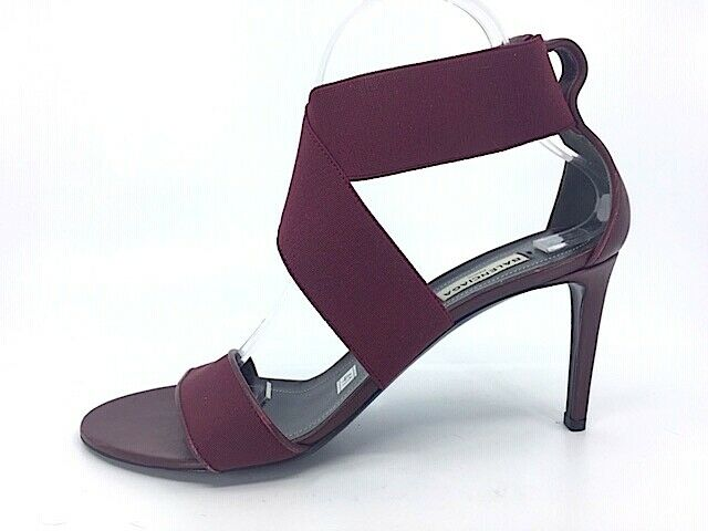 NEW BALENCIAGA  Burgundy Elastic Bands & Leather open toe strappy sandal SZ 41