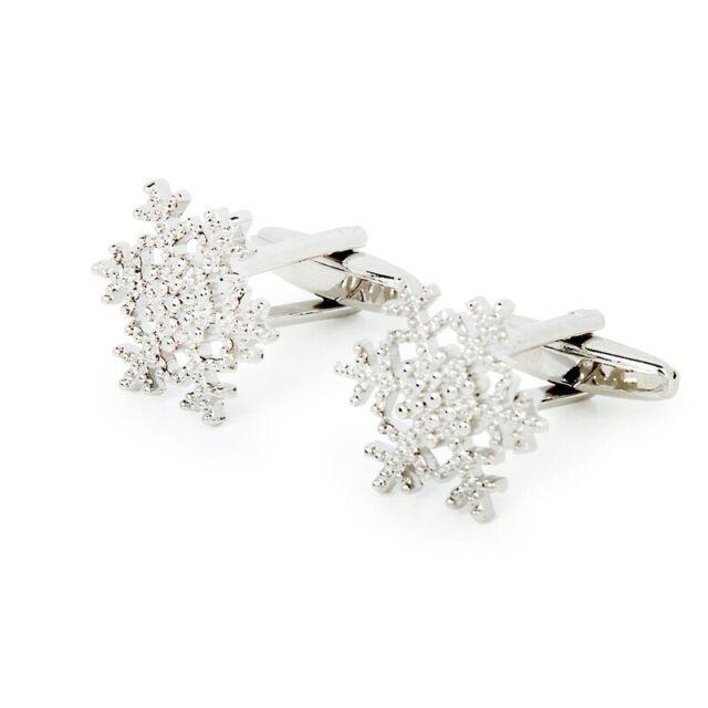 Snowflake-Pattern Cufflinks Men's Cuff Links Gift Silver K1M1
