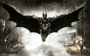 Batman-DC-Comics-Flying-Gotham-City-Art-Large-encadree-Photo-sur-toile-20x30-pouces