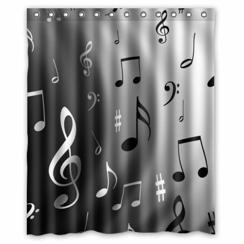 Musical Notes Waterproof Fabric Polyester Bathroom Shower Curtain Home Decor Ebay
