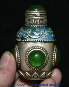 Antique collection jade jade inlaid silver snuff bottle decoration