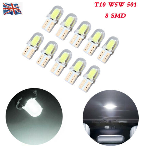 T10 501 8 SMD W5W White LED Wedge Door Dashboard Bulbs Car Side Marker Light