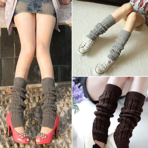 Women Winter Warm Fashion Slouch Knit Crochet High Knee Leg Warmers Boot Socks