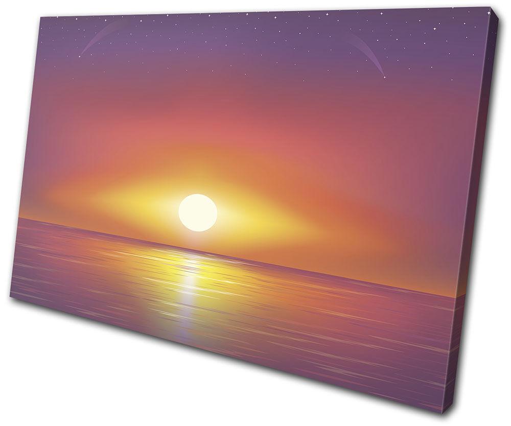 Landscapes Vector Sunset Sea Ocean SINGLE TELA parete arte foto stampa