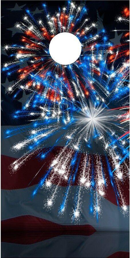 American Flag Patriotic Fireworks cornhole board game decal wraps