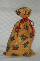 Kwanzaa Design Homemade Fabric Gift Bag With Attached Ribbon
