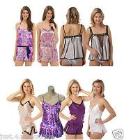 Ladies Satin Silky Teddy Romper PlaySuit Onesie Size 6 8 10 12 14 16 18 20 22 24