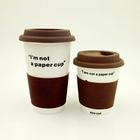 "Eco Cup, Bone China Mug with Silicone Lid and Band, ""I'm not a Paper cup"""