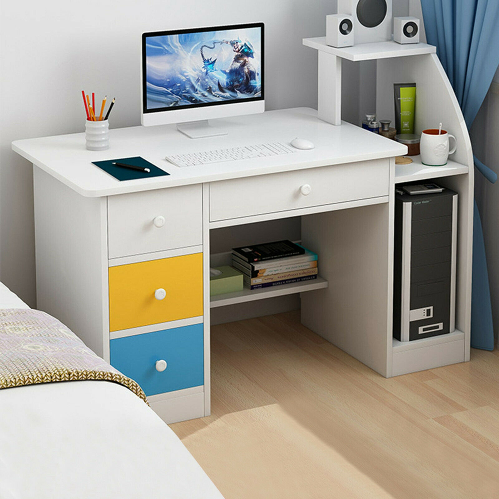 Corner Desk Stand Small Kitchen White Wood Table Top With Drawers Shelf For Kids For Sale Online Ebay