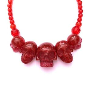 Kreepsville 666 80s 90s Gothic Horror Punk Red Skull Collection Necklace Choker