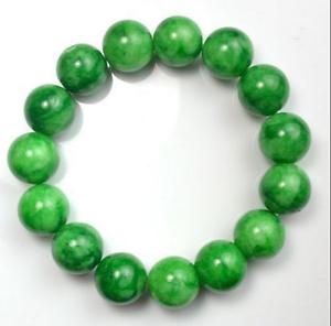 Natural-12mm-Green-Jade-Stone-Ruond-Beads-Elastic-Bangle-Bracelet-7-5-039-039