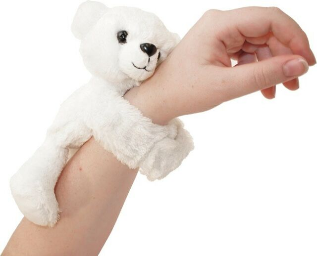 HUGGERS PLUSH POLAR BEAR SLAP BRACELET STUFFED ANIMAL TOY BY WILD REPUBLIC