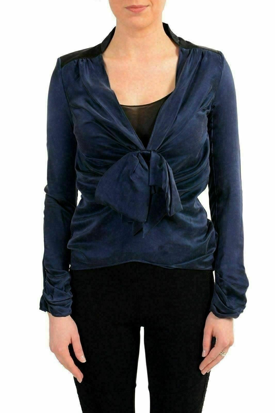 Viktor & Rolf Women's 100% Silk bluee Long Sleeve Blouse Top US S IT 40