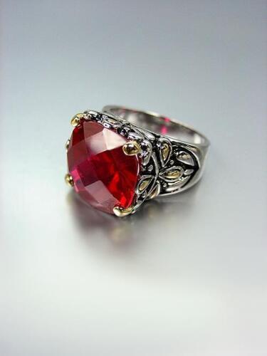*NEW* Designer Inspired Red Garnet CZ Crystal Silver Gold Balinese Ring