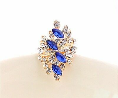 New Fashion Elegant Charm Crystal Nice Blue Resin Topaz Gold Ring Size #6-10