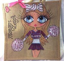 Personalised Handpainted Cheerleader Jute  Celebrity Handbag Hand Bag Gift