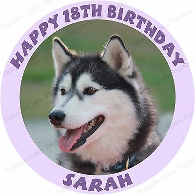 Terrific Personalised Siberian Husky Dog Round Edible Icing Birthday Party Funny Birthday Cards Online Bapapcheapnameinfo