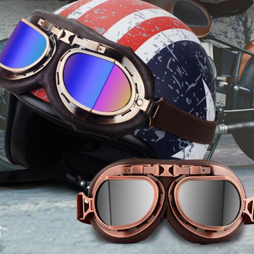 Vintage Helmet Glasses Motorcycle Goggles Flying Eyewear Cafe Racer Riding US