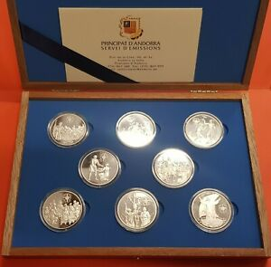 8-monedas-x-ANDORRA-10-Diners-1999-JUBILAEUM-Jubileo-2000-PLATA-COIN-MINT-SET