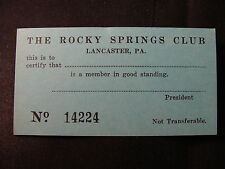 Lot of 3 Rocky Springs Club membership cards, Rocky Springs Park, Lancaster PA