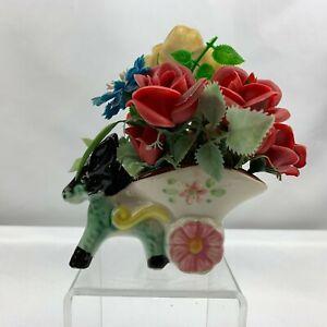 Vintage Donkey Pulling Cart Planter Original Plastic Flowers  - Japan