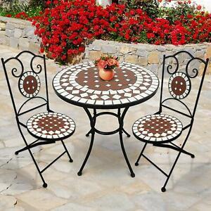 Tavoli In Ceramica Per Esterno.Set Arredo Giardino Mosaico Tavolo E Sedie In Ferro Con Terracotta