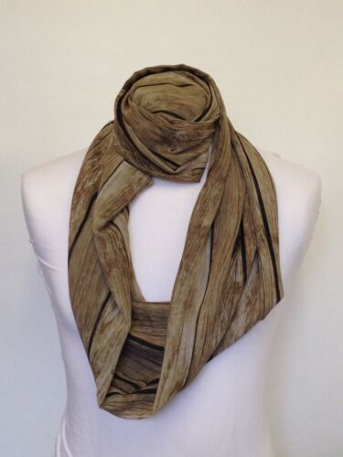 Infinity Scarf Jersey Or Chiffon Old Wood Effect Unisex Fashion Loop Scarves