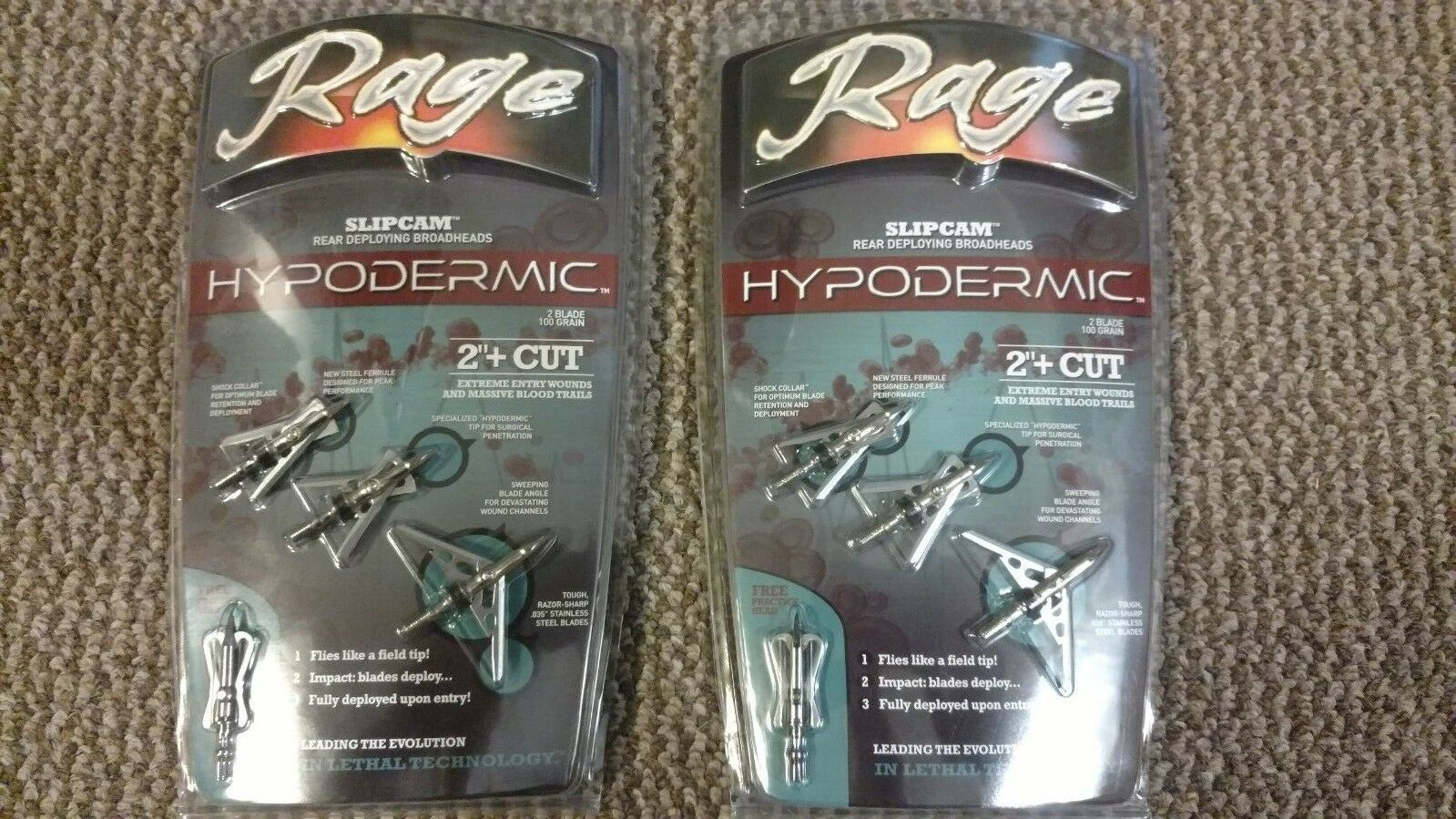 (2) NEW Rage Hypodermic Broadheads Slipcam Mechanical 100 Grain 2  Cut  3pk