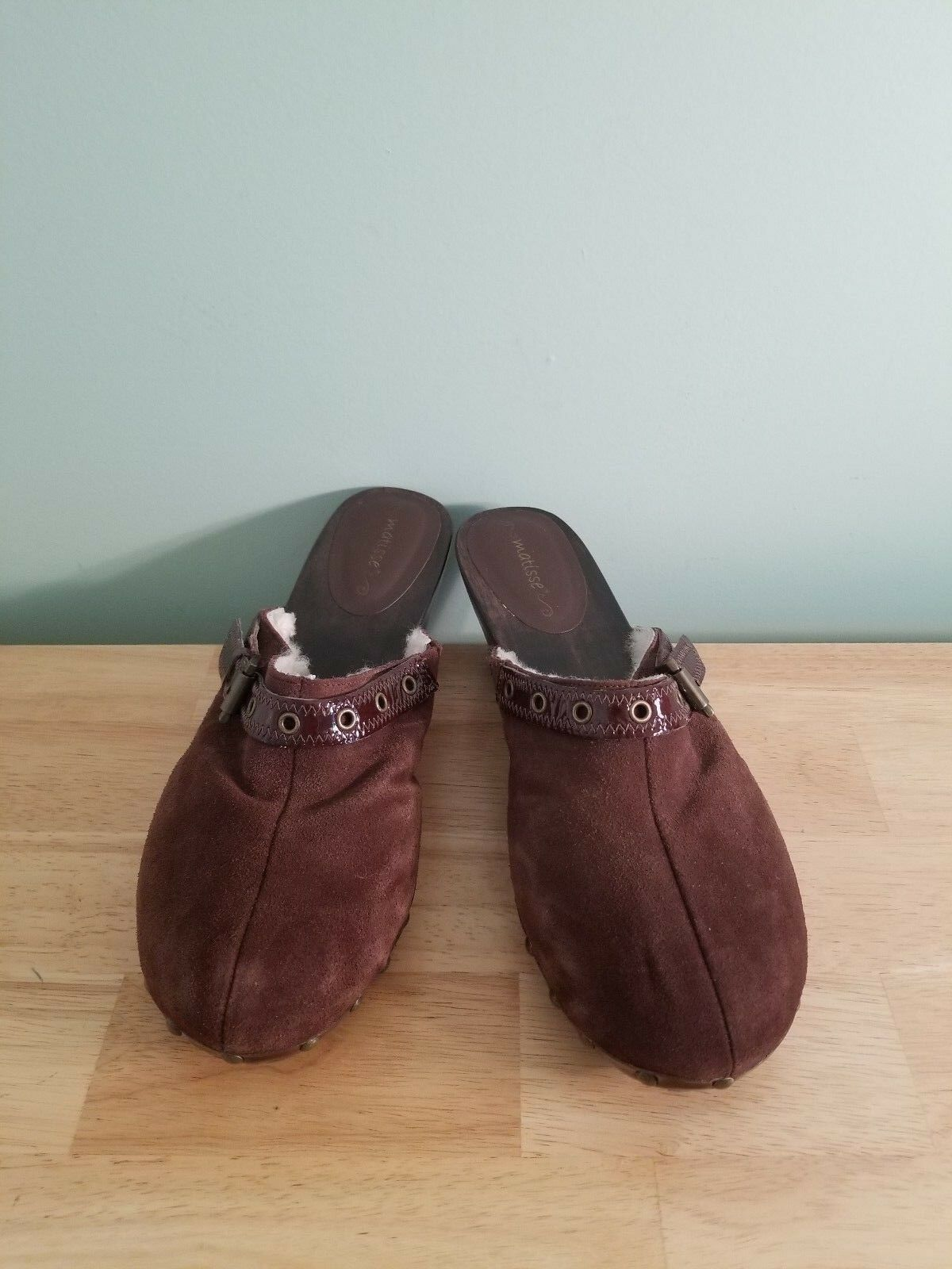 Matisse Brown Suede Clogs Mules Sheepskin Interior Size 10