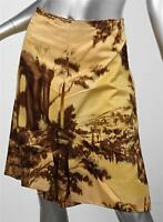 PRADA Yellow Gold Brown Landscape Print Wool Silk Pleated Skirt sz. 42