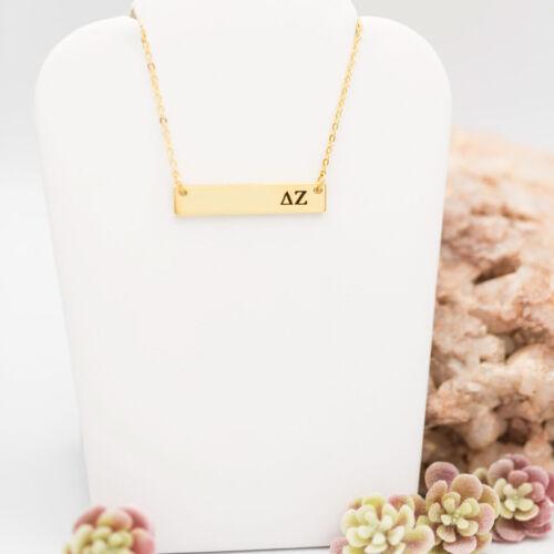 Delta Zeta DZ Gold Bar Sorority Necklace