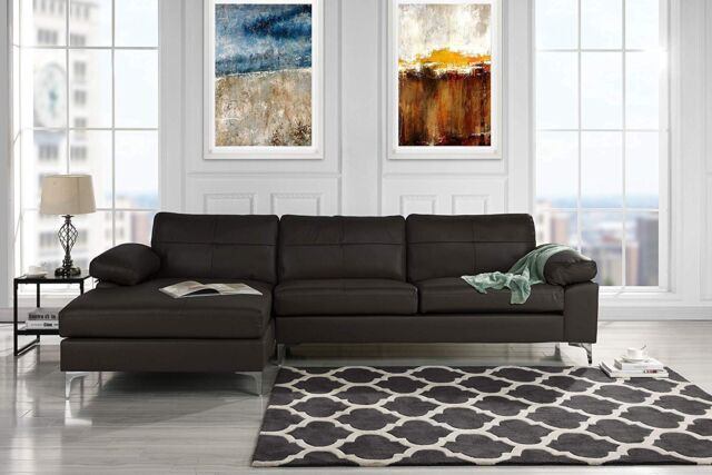 Modern Leather Sectional Sofa, L-Shape Couch w/ Chaise (Dark Brown)